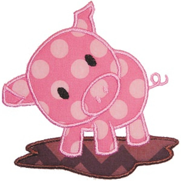 Piggy Applique Machine Embroidery Design