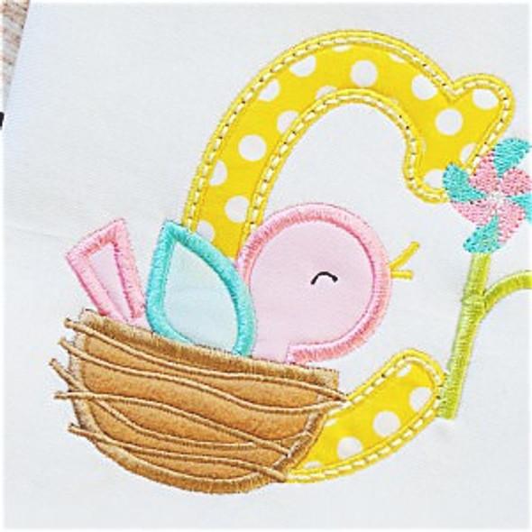 Bird Nest Alpha Machine Embroidery Design