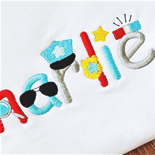 Police Font Machine Embroidery Design