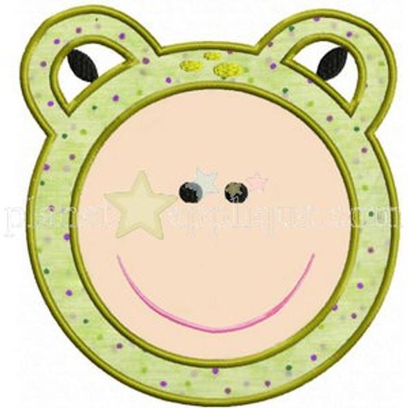 Frog Face Applique Machine Embroidery Design