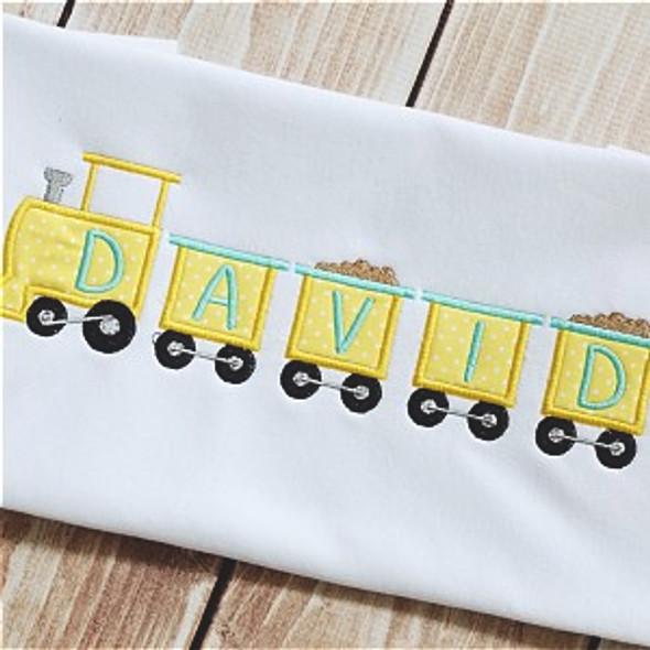 Tiny Train Alpha Machine Embroidery Design