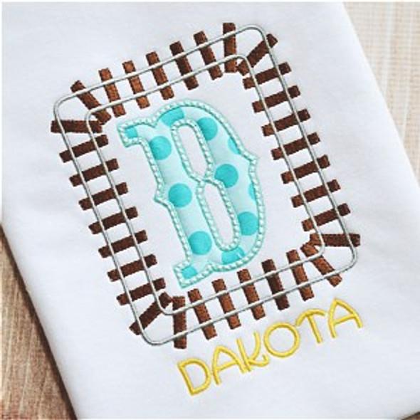 Train Track Alpha Machine Embroidery Design