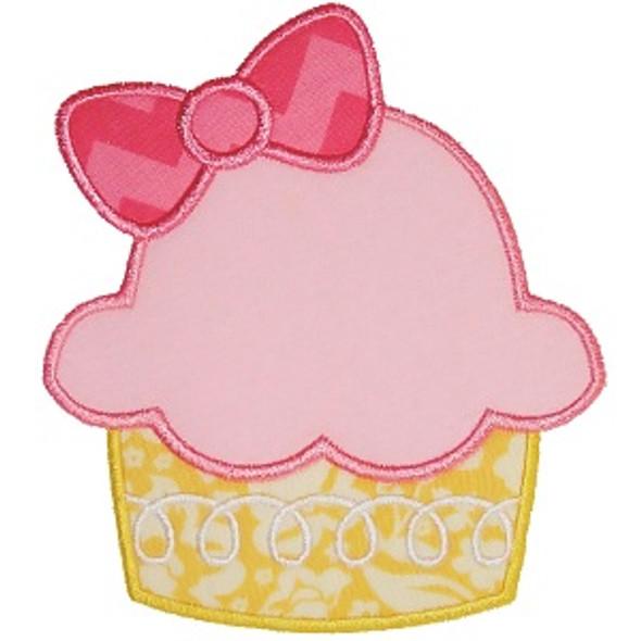 Bow Cupcake Applique Machine Embroidery Design