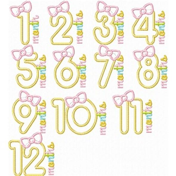 Birth Month Bow Set Machine Embroidery Design