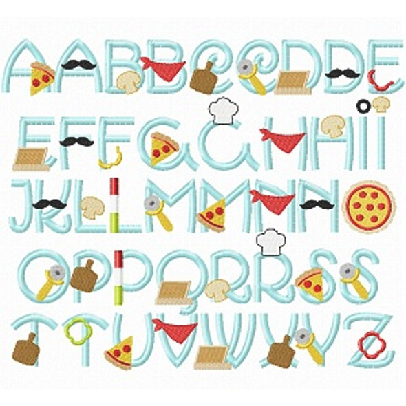Pizza Party Font Machine Embroidery Design