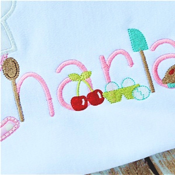 Very Cherry Baker Font Machine Embroidery Design