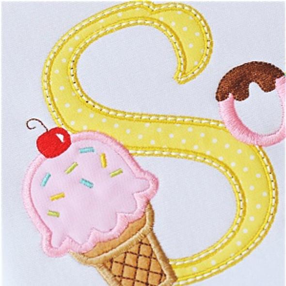 Ice Cream Alpha Machine Embroidery Design