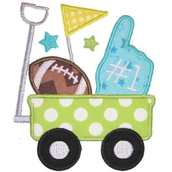 Football Wagon Applique