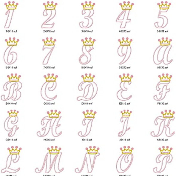 Crown Alpha Machine Embroidery Design