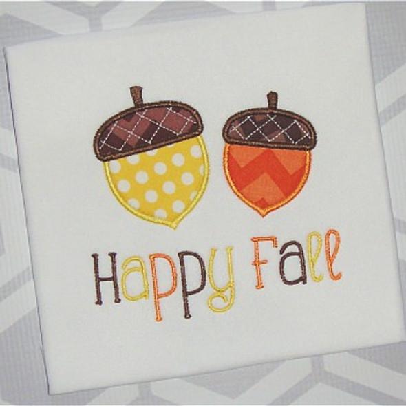 Fall Acorns Applique Machine Embroidery Design