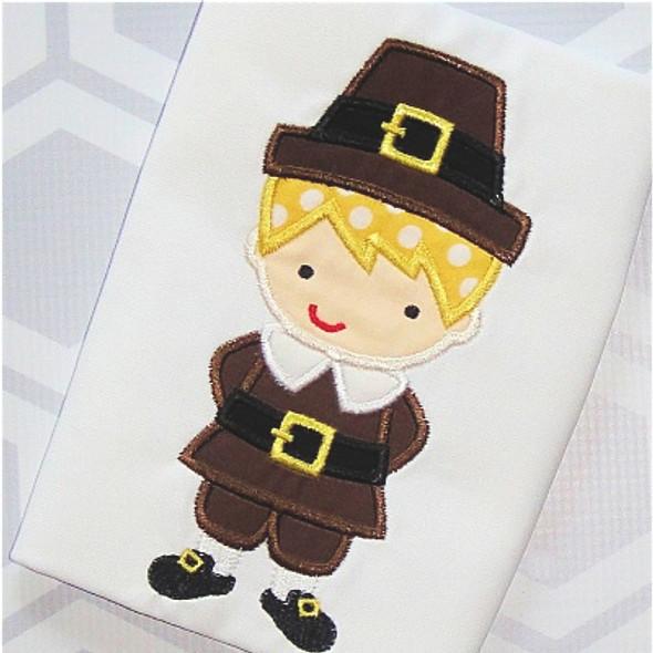 Pilgrim Boy 2 Applique Machine Embroidery Design