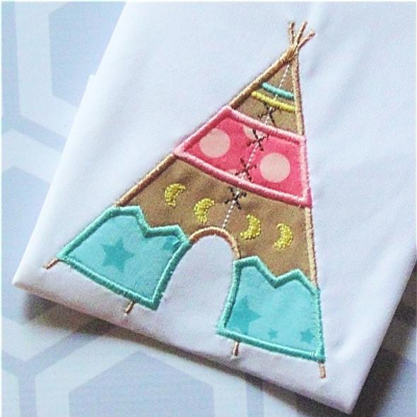 Tee Pee 2 Applique Machine Embroidery Design