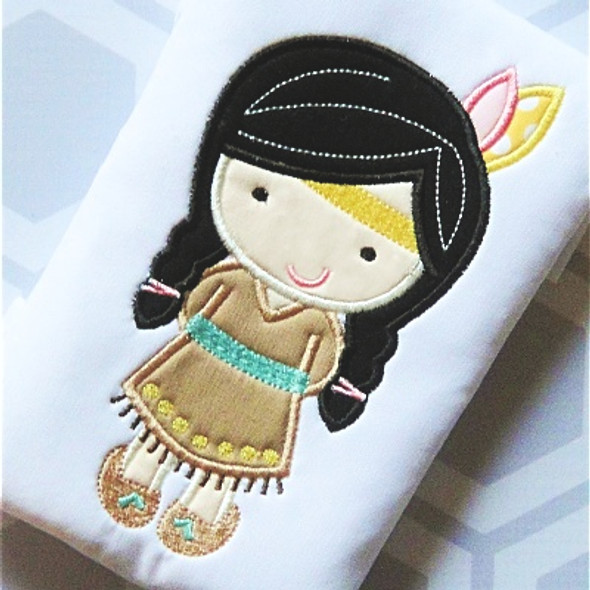 Indian Girl 2 Applique Machine Embroidery Design