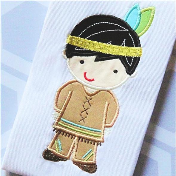 Indian Boy 2 Applique Machine Embroidery Design
