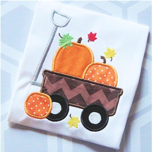 Fall Wagon Applique Machine Embroidery Design
