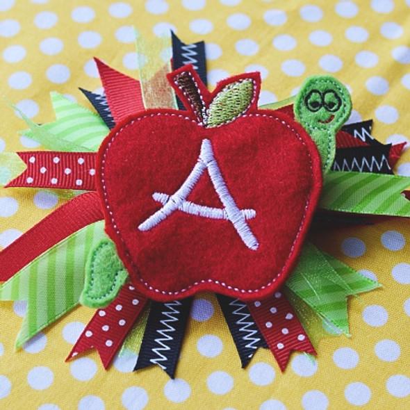 Apple Hair Feltie Alpha Machine Embroidery Design