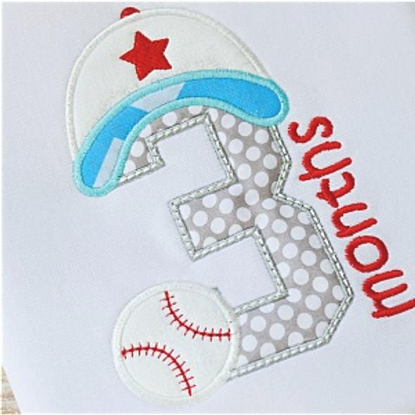 Baseball Birth Months Machine Embroidery Design