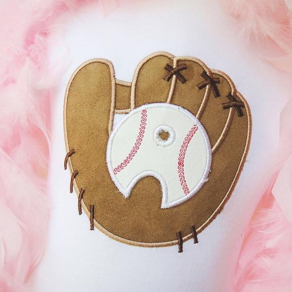 Baseball Glove Alpha Machine Embroidery Design