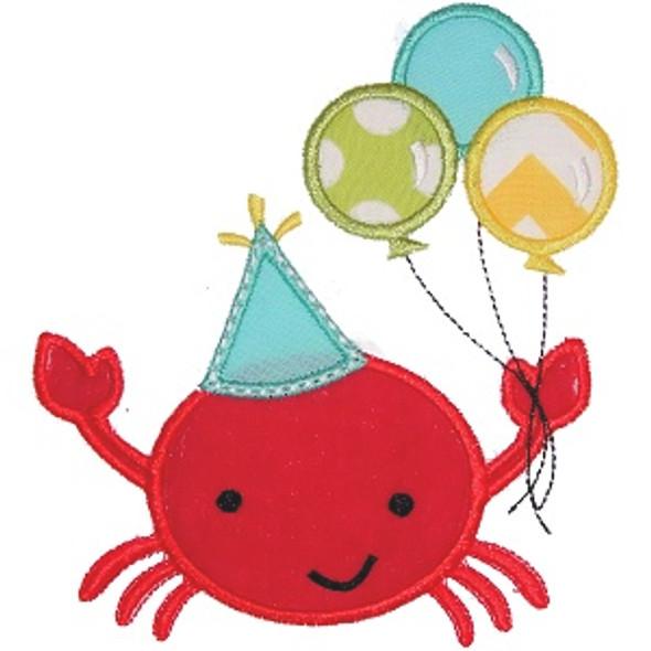 Birthday Crab Applique Machine Embroidery Design