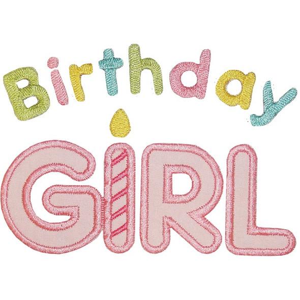 Birthday Girl Applique Machine Embroidery Design