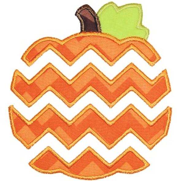 Chevron Pumpkin Machine Embroidery Design