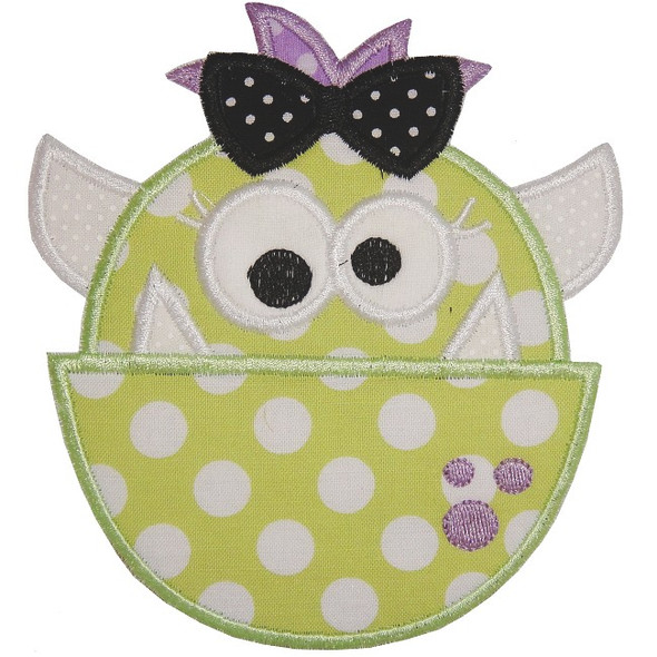 Cute Girl Monster Machine Embroidery Design