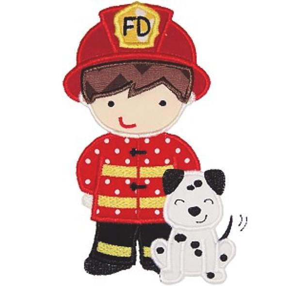 Fireman and Dog Machine Embroidery Design