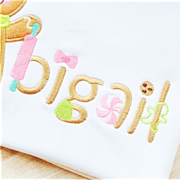 Gingerbread Font Machine Embroidery Design