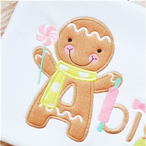 Gingerbread Man Alpha Machine Embroidery Design