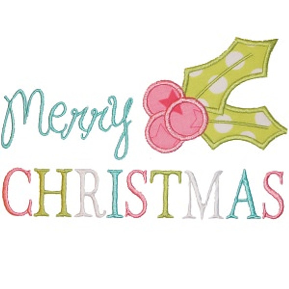 Merry Christmas Holly Machine Embroidery Design