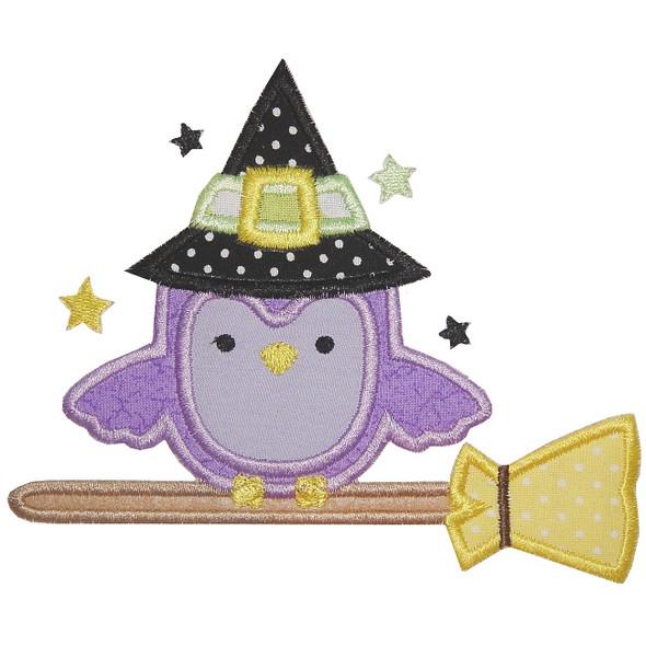 Owl on Broom Machine Embroidery Design