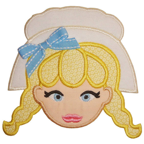Pilgrim Girl Applique Machine Embroidery Design