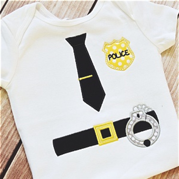 Police Applique Set Machine Embroidery Design