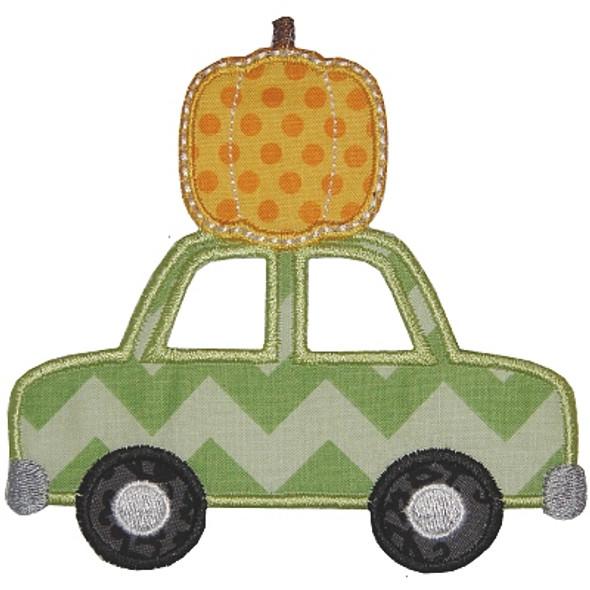 Pumpkin and Car Applique Machine Embroidery Design
