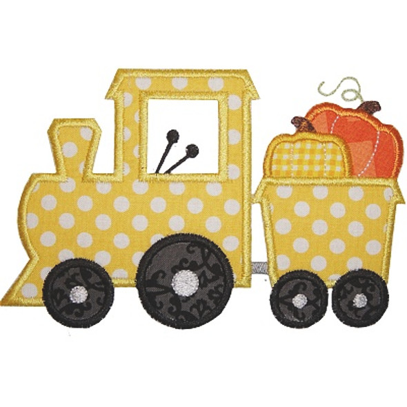 Pumpkin Train Applique Machine Embroidery Design
