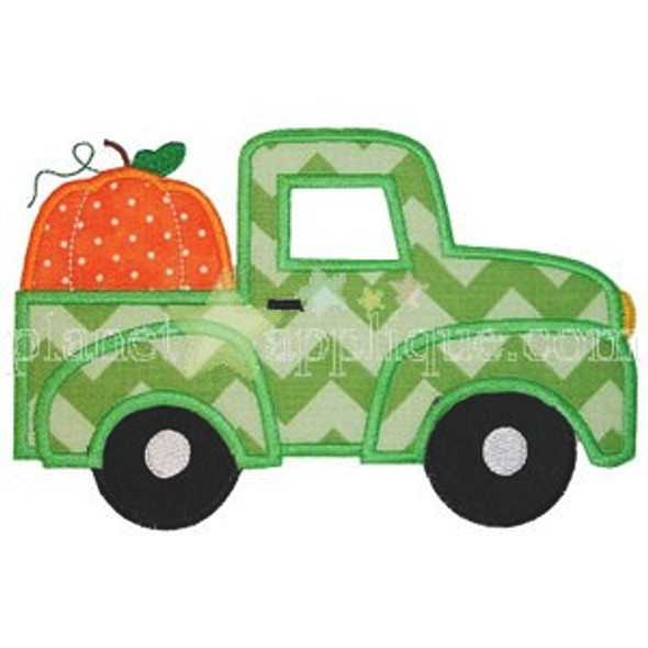 Pumpkin Truck Applique Machine Embroidery Design