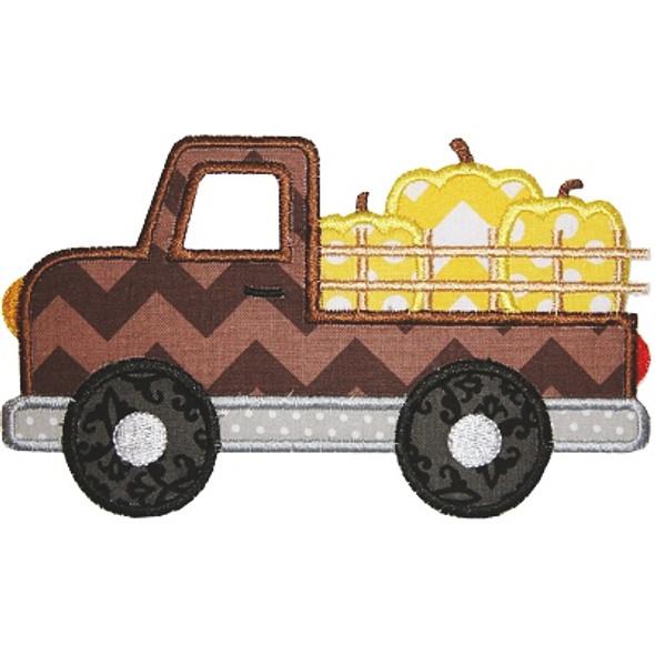 Pumpkin Truck 2 Applique Machine Embroidery Design