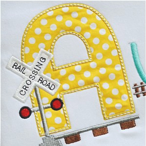 Railroad Alpha Machine Embroidery Design