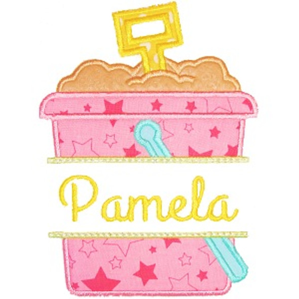 Sand Pail Name Plate Machine Embroidery Design