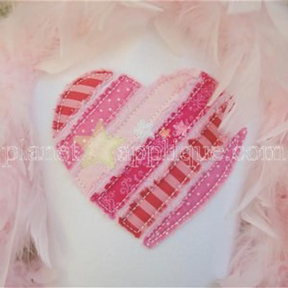 Shabby Valentine Applique Machine Embroidery Design