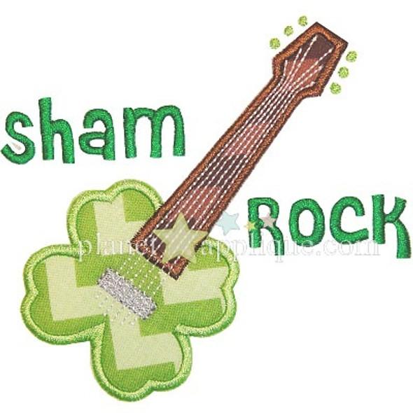 Shamrock Guitar Applique Machine Embroidery Design