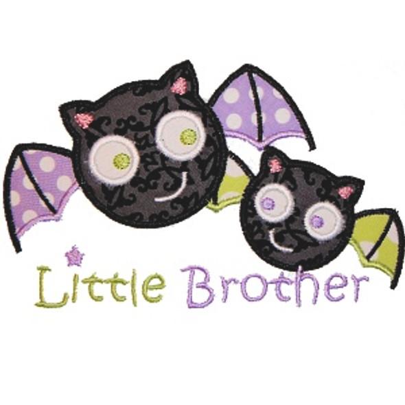 Sibling Bats Applique Machine Embroidery Design
