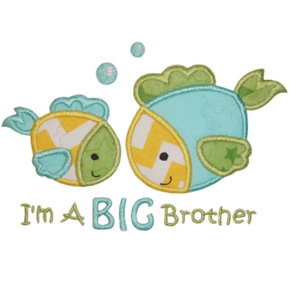Sibling Fish Appliques Machine Embroidery Design