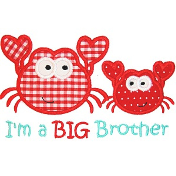 Sibling Crab Applique Machine Embroidery Design