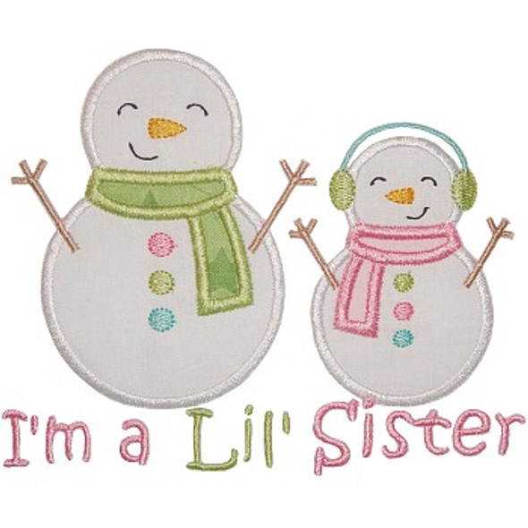 Sibling Snowman Applique Machine Embroidery Design