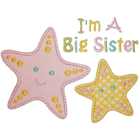 Sibling Starfish Applique Machine Embroidery Design