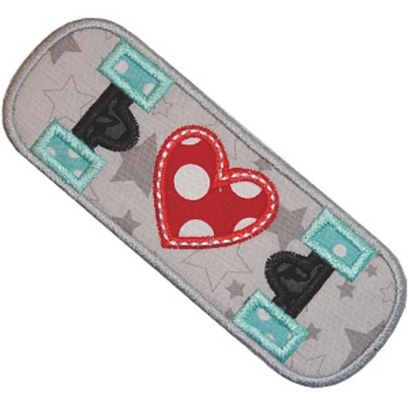 Skateboard Love Applique Machine Embroidery Design