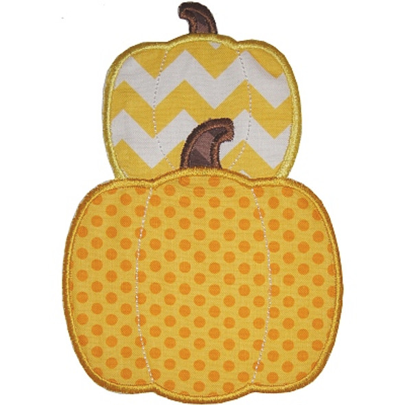 Stacked Pumpkins Applique Machine Embroidery Design