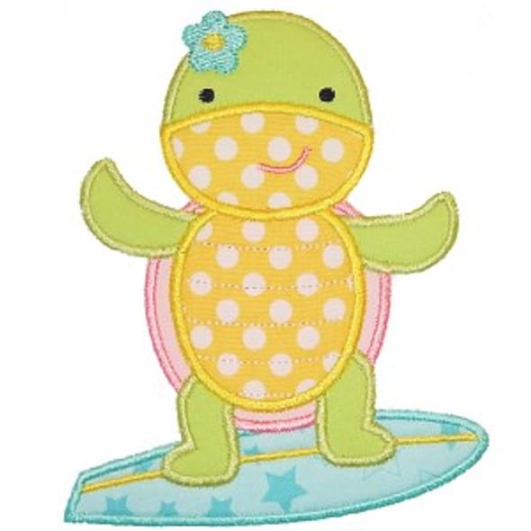 Surfing Turtle Applique Machine Embroidery Design