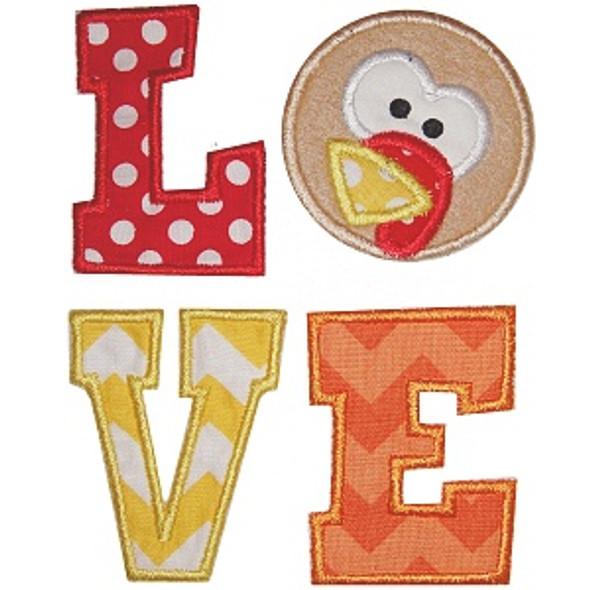 Turkey Love Applique Machine Embroidery Design